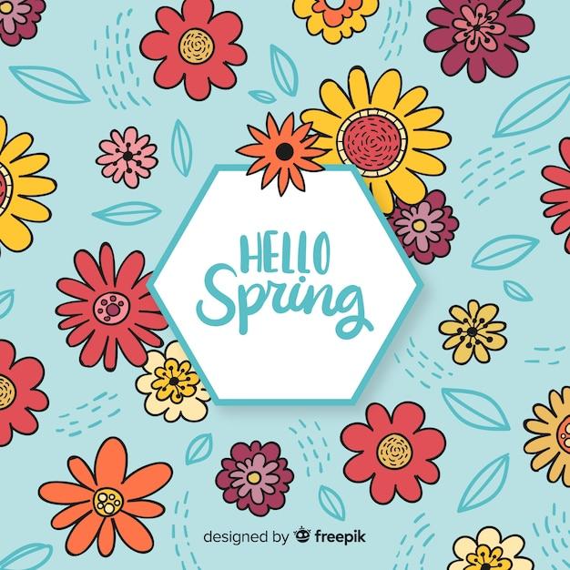 Ręcznie Rysowane Tło Wiosna Darmowych Wektorów