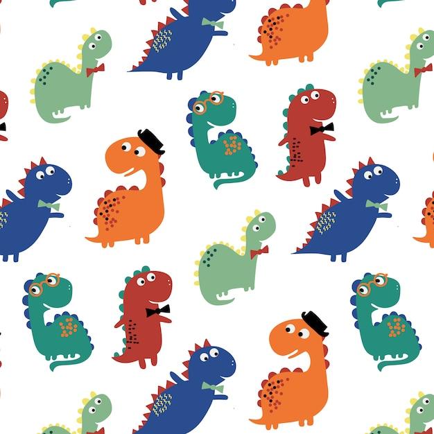 Ręcznie Rysowane Tło Wzór ładny Dinozaur Premium Wektorów