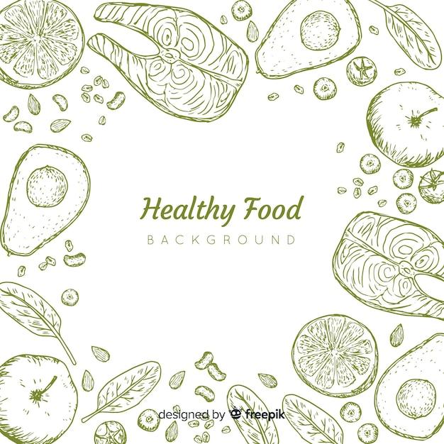Ręcznie rysowane tło zdrowej żywności Darmowych Wektorów