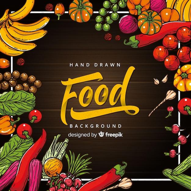 Ręcznie rysowane tło żywności Darmowych Wektorów