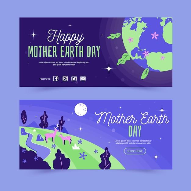 Ręcznie Rysowane Transparent Matka Dzień Ziemi Zestaw Darmowych Wektorów
