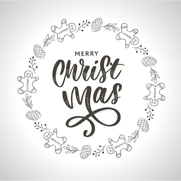Ręcznie Rysowane Tuszem Boże Narodzenie Wieniec Z Guzem, Gałęzie Jodły, Ozdoby świąteczne. Premium Wektorów