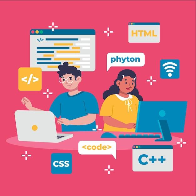 Ręcznie Rysowane Twórców Stron Internetowych Pracujących Darmowych Wektorów