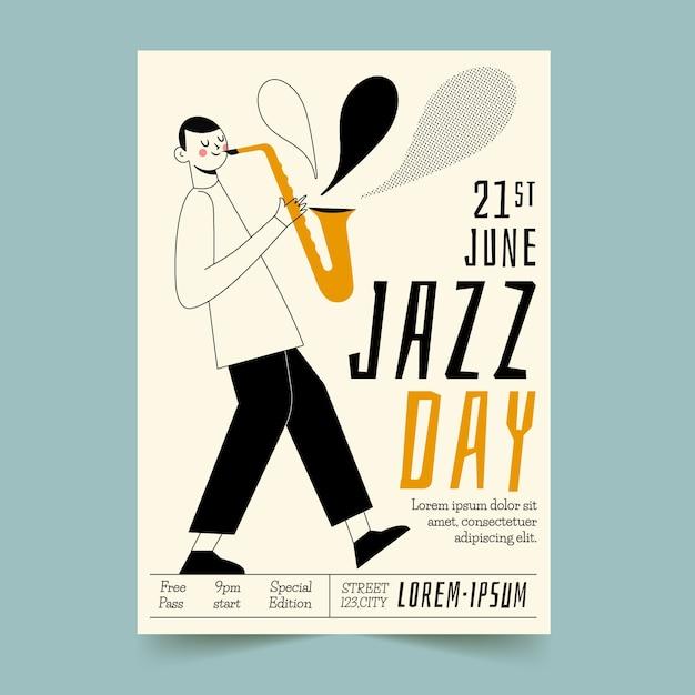 Ręcznie Rysowane Ulotki Międzynarodowego Dnia Jazzu Darmowych Wektorów