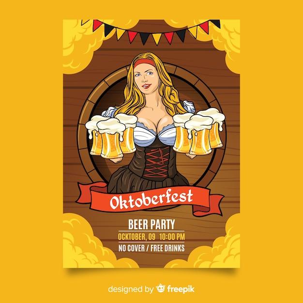 Ręcznie Rysowane Ulotki Oktoberfest Darmowych Wektorów