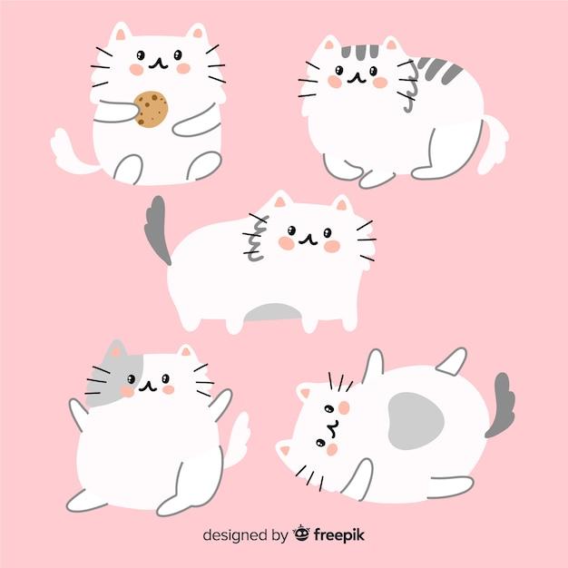 Ręcznie Rysowane Urocza Kolekcja Kotów Darmowych Wektorów