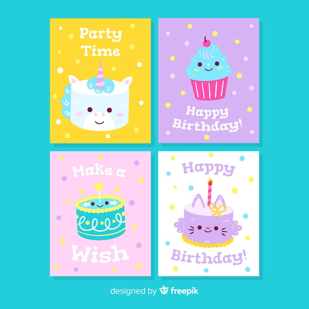 Ręcznie rysowane urodziny kolekcji kart Darmowych Wektorów