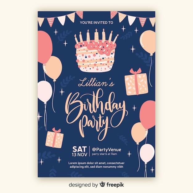 Ręcznie Rysowane Urodziny Szablon Zaproszenia Darmowych Wektorów