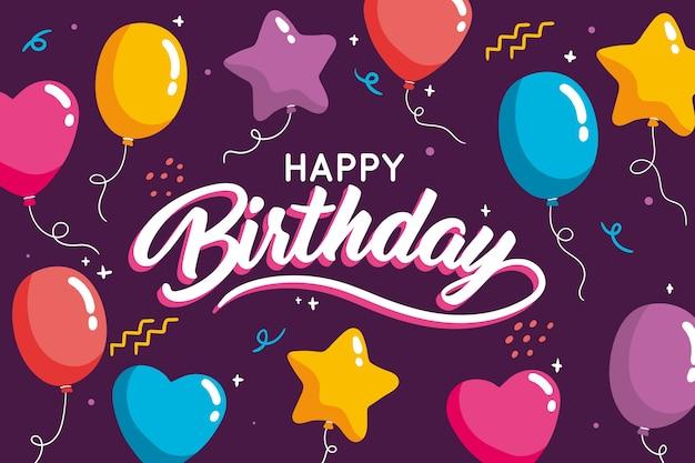 Ręcznie Rysowane Urodziny Tło Z Balonów Darmowych Wektorów