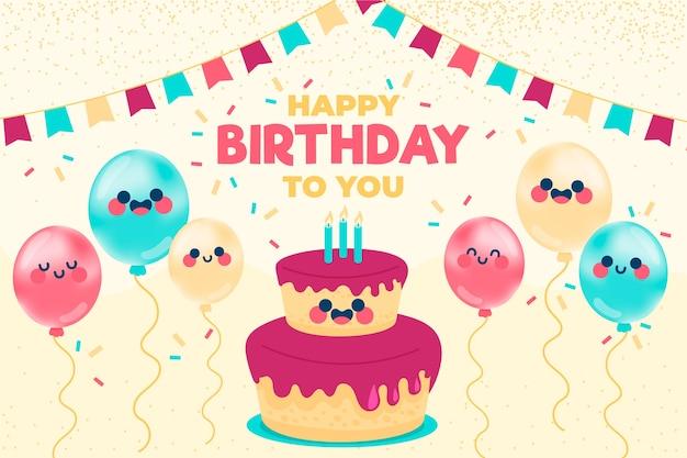 Ręcznie Rysowane Urodziny Tło Z Ciasta I Balony Darmowych Wektorów