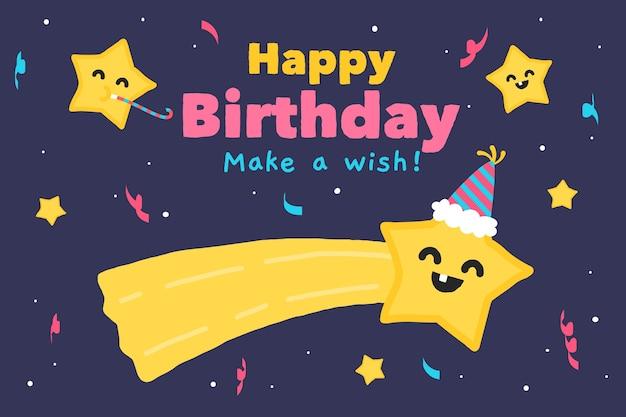Ręcznie Rysowane Urodziny Tło Z Gwiazdą życzeń Darmowych Wektorów