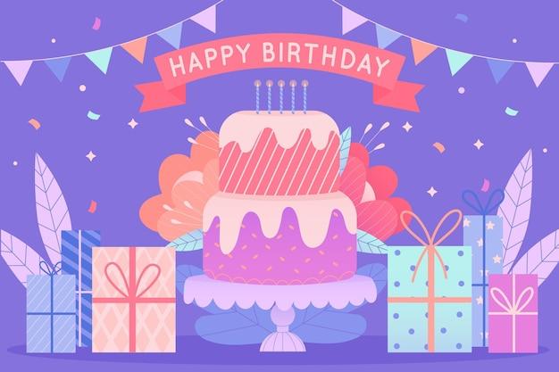 Ręcznie Rysowane Urodziny Zapakowane Prezenty Darmowych Wektorów