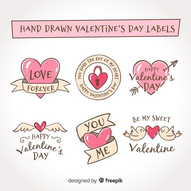 Ręcznie rysowane valentine opakowanie etykiety Darmowych Wektorów