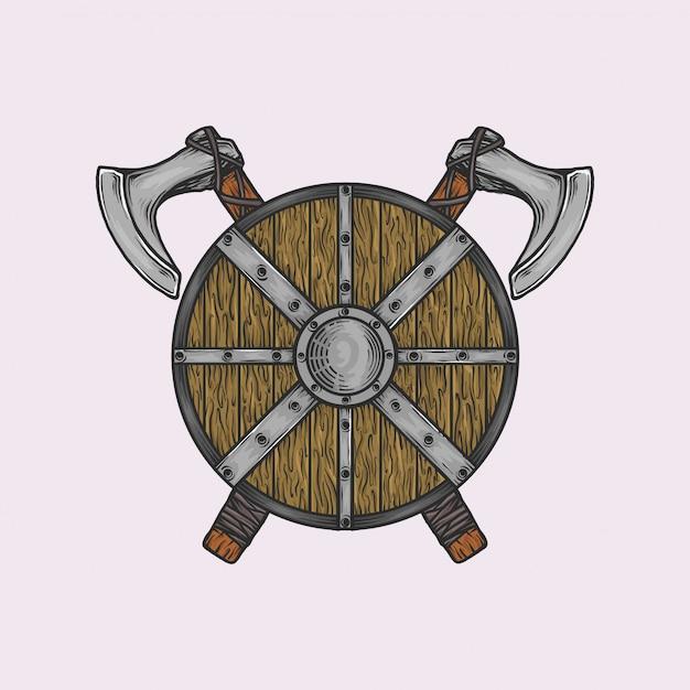 Ręcznie rysowane vintage topór i tarcza wikinga Premium Wektorów
