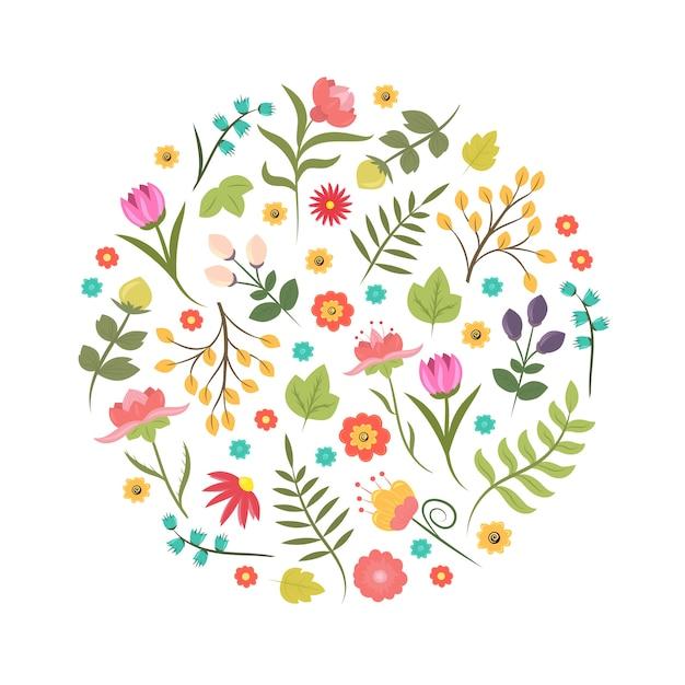 Ręcznie Rysowane W Stylu Lato Lub Wiosna Element Kwiatowy Wzór Lub Logo W Kształcie Koła. Tożsamość Biznesowa Premium Wektorów