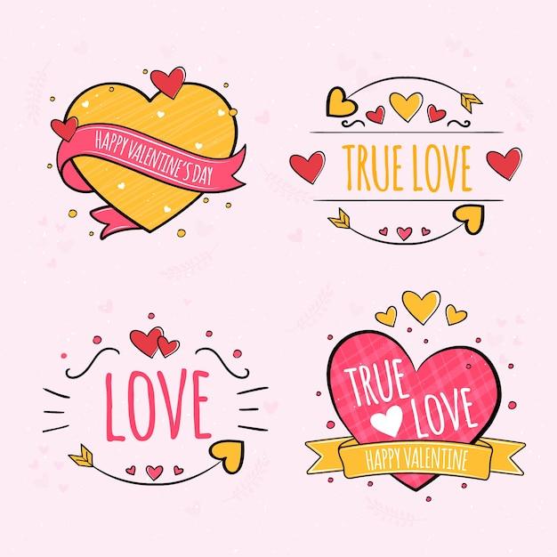 Ręcznie Rysowane Walentynki Kolekcja Etykiet Darmowych Wektorów