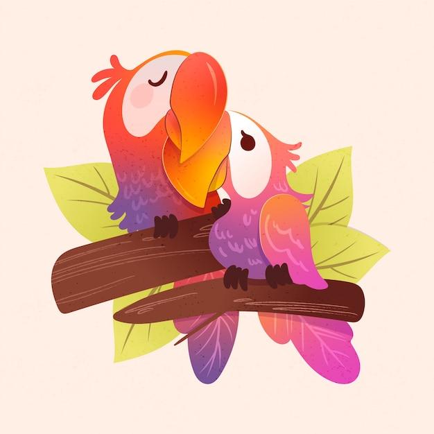 Ręcznie Rysowane Walentynki Papuga Para Darmowych Wektorów