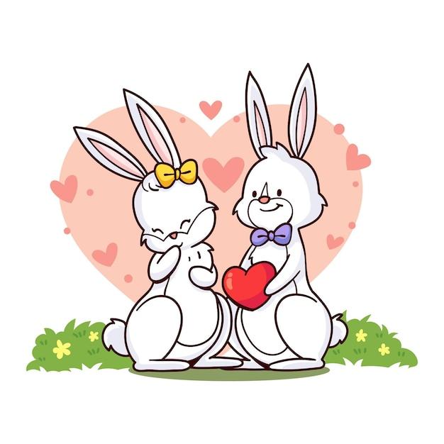 Ręcznie Rysowane Walentynki Para Królików Darmowych Wektorów