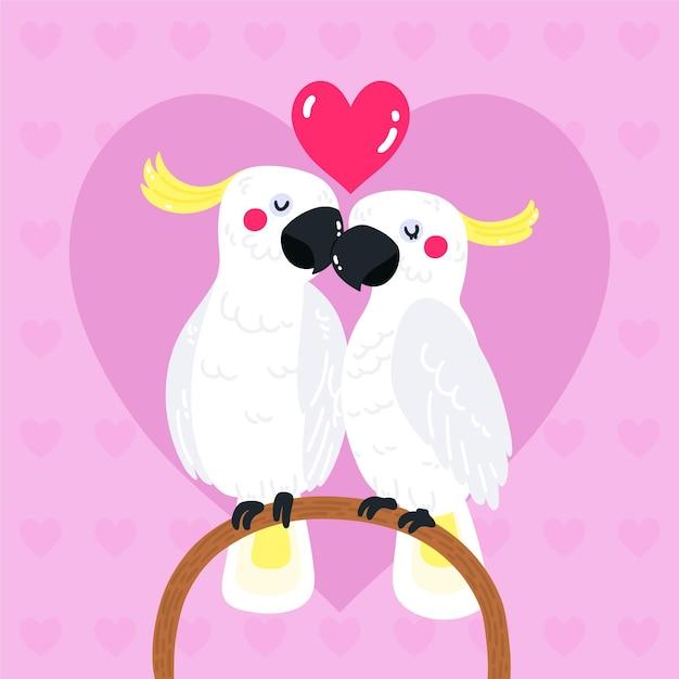 Ręcznie Rysowane Walentynki Para Papug Darmowych Wektorów