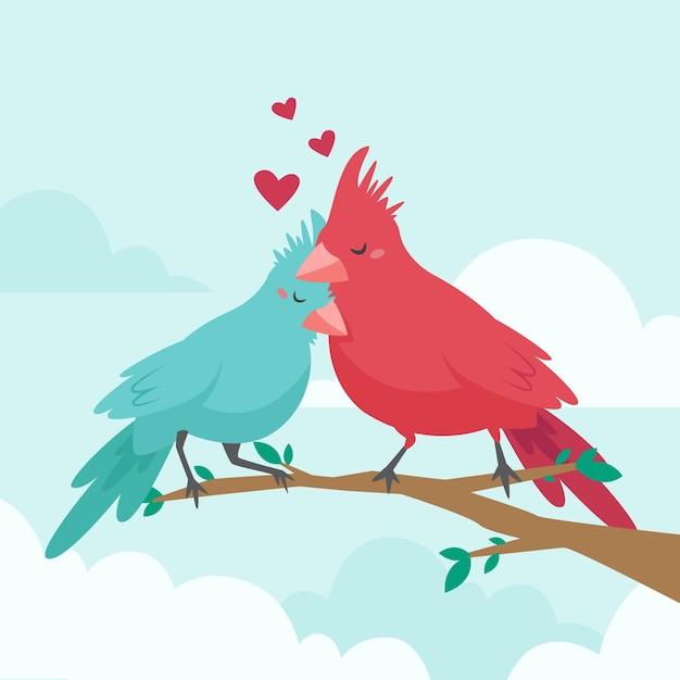 Ręcznie Rysowane Walentynki Para Zwierząt Darmowych Wektorów