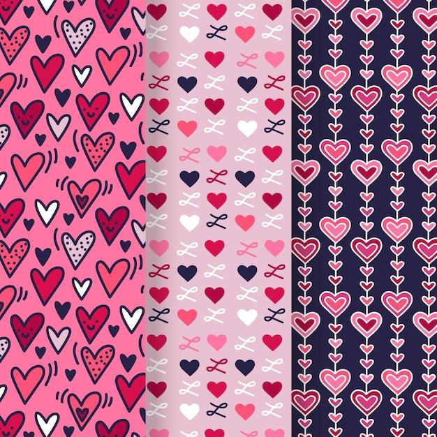 Ręcznie Rysowane Walentynki Wzór Kolekcji Darmowych Wektorów