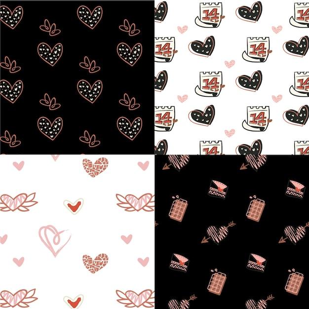 Ręcznie Rysowane Walentynki Wzór Paczka Darmowych Wektorów