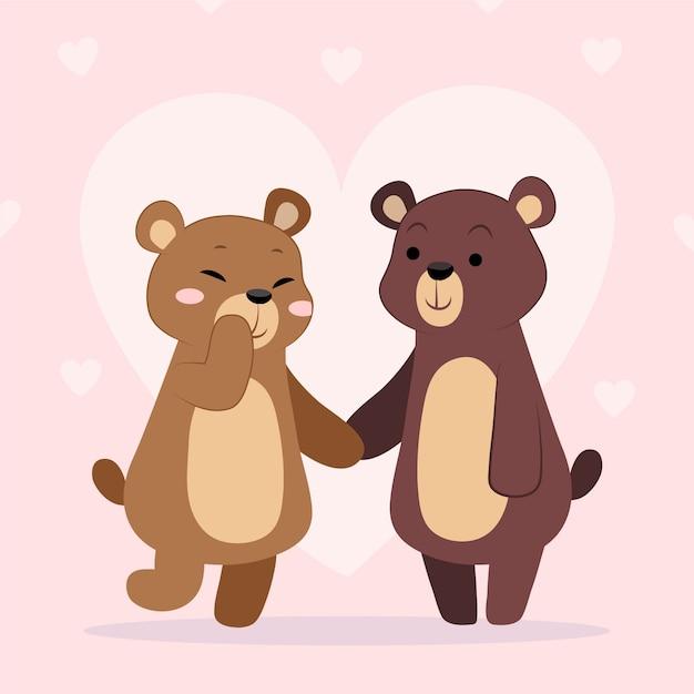 Ręcznie Rysowane Walentynki Zwierząt Para Darmowych Wektorów