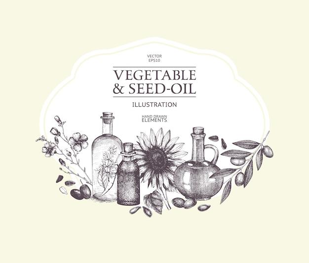 Ręcznie Rysowane Warzywa I Olej Z Nasion Ilustracja. Ilustracja Rocznika Zdrowej żywności. Szkic Ozdobny Grawerowane Olej Na Białym Tle. Premium Wektorów
