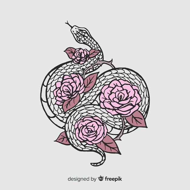 Ręcznie Rysowane Wąż Z Kwiatami Ilustracji Darmowych Wektorów