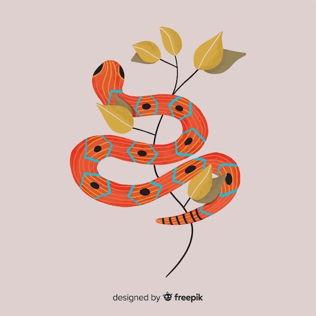 Ręcznie rysowane wąż z kwiatami w tle Darmowych Wektorów