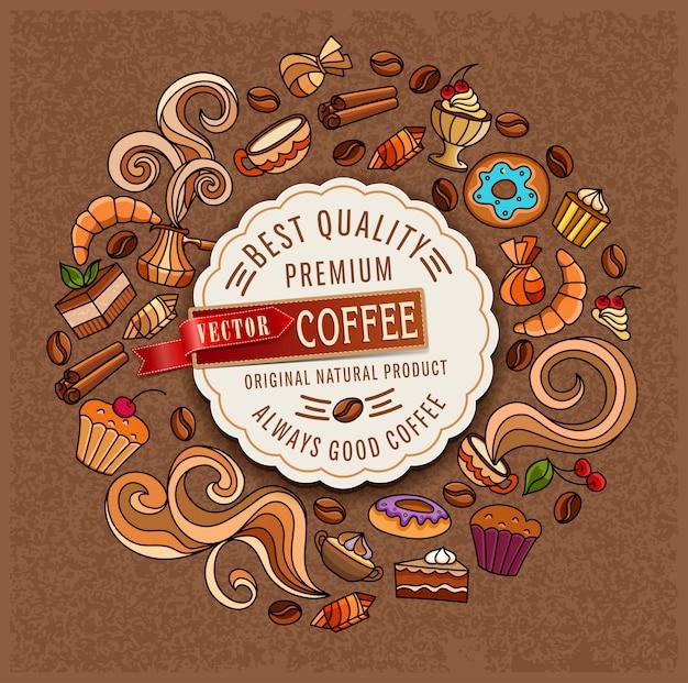 Ręcznie rysowane wektor doodles na temat kawy Premium Wektorów