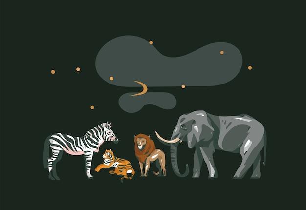 Ręcznie Rysowane Wektor Streszczenie Kreskówka Nowoczesny Graficzny Kolaż Afrykańskiego Safari Ze Zwierzętami Safari Na Białym Tle Na Czarnym Kolorze. Premium Wektorów