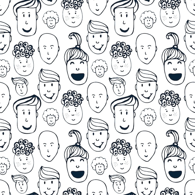 Ręcznie rysowane wektor wzór z ilustracji grupy mężczyzn i kobiet. tłum tło zabawny zaludnia. Premium Wektorów