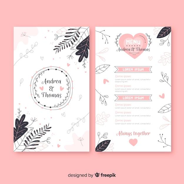 Ręcznie rysowane wesele menu szablon Darmowych Wektorów