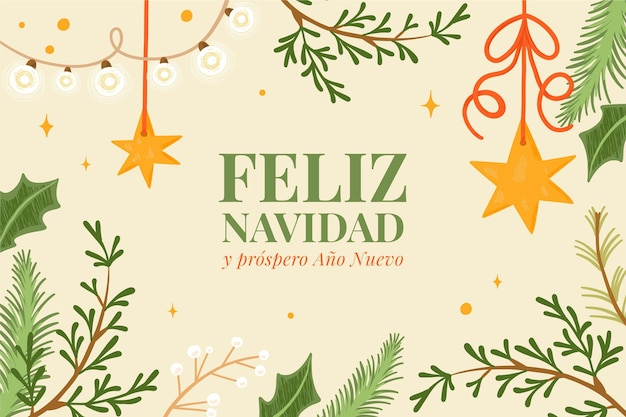 Ręcznie Rysowane Wesołych świąt Bożego Narodzenia Tło Darmowych Wektorów