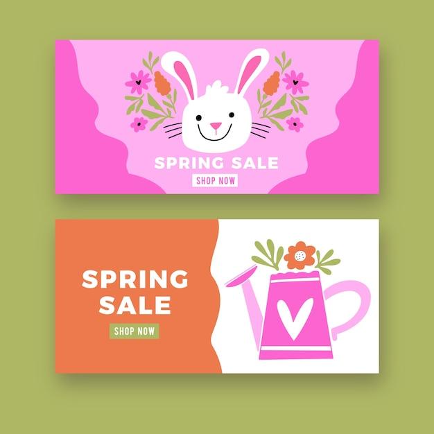 Ręcznie Rysowane Wielkanoc Kolekcja Transparent Sprzedaż Dzień Darmowych Wektorów