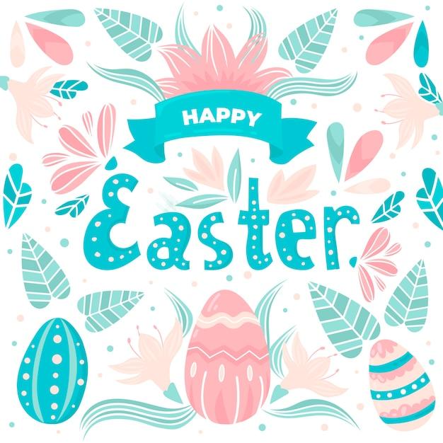 Ręcznie Rysowane Wielkanoc Ze Wstążki I Liści Darmowych Wektorów