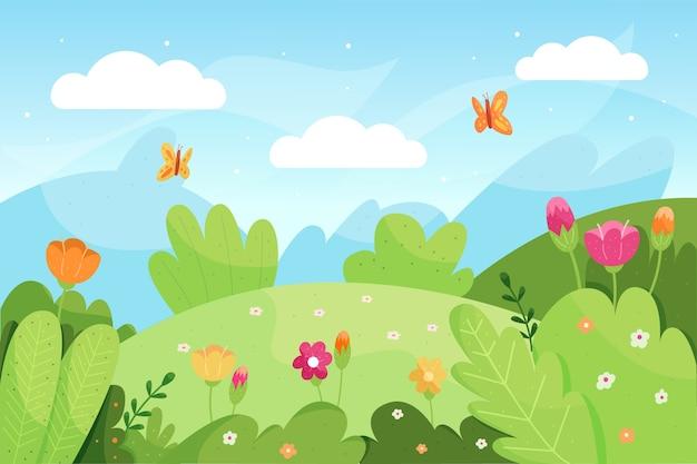 Ręcznie Rysowane Wiosenny Krajobraz Premium Wektorów