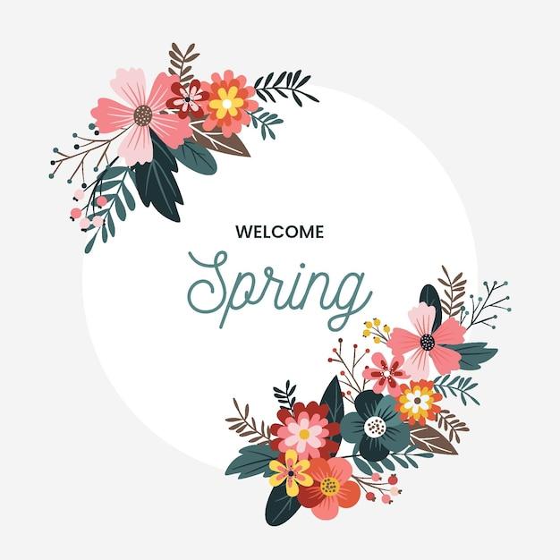 Ręcznie Rysowane Wiosna Kwiatowy Rama Darmowych Wektorów