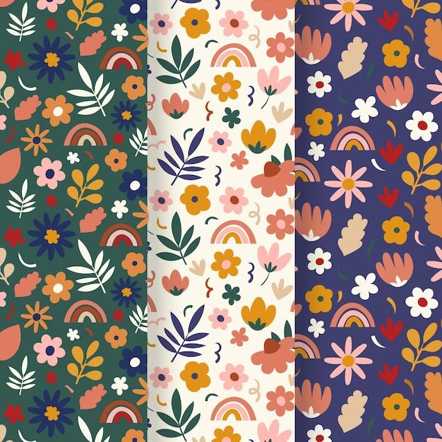 Ręcznie Rysowane Wiosna Kwiatowy Wzór Zestaw Darmowych Wektorów