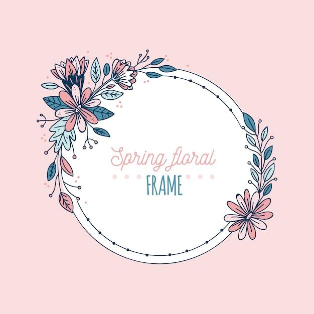 Ręcznie Rysowane Wiosna Kwitnąca Rama Kwiatowy Darmowych Wektorów