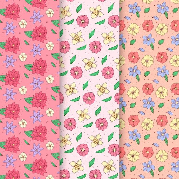 Ręcznie Rysowane Wiosna Wzór Kolekcji Z Asortymentem Kwiatów Darmowych Wektorów