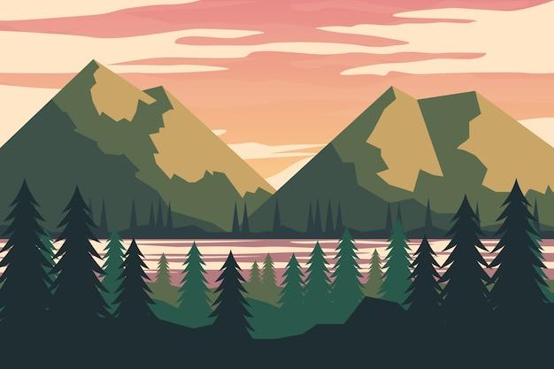 Ręcznie Rysowane Wiosnę Krajobraz Z Jeziorem I Górami Darmowych Wektorów