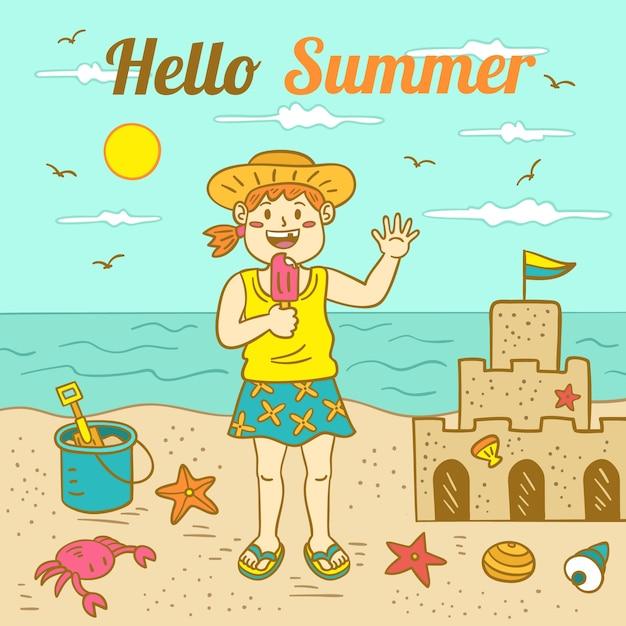 Ręcznie Rysowane Witaj Lato Ilustracja Darmowych Wektorów
