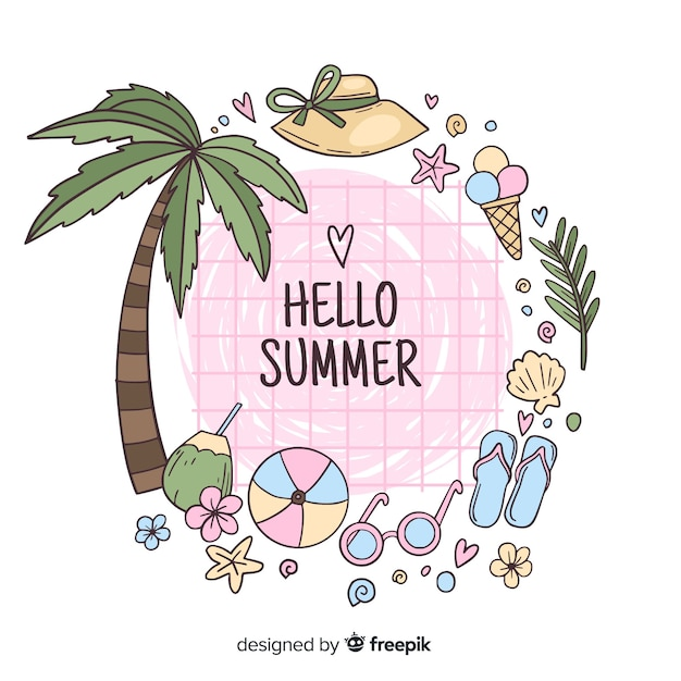 Ręcznie rysowane witaj lato tło Darmowych Wektorów