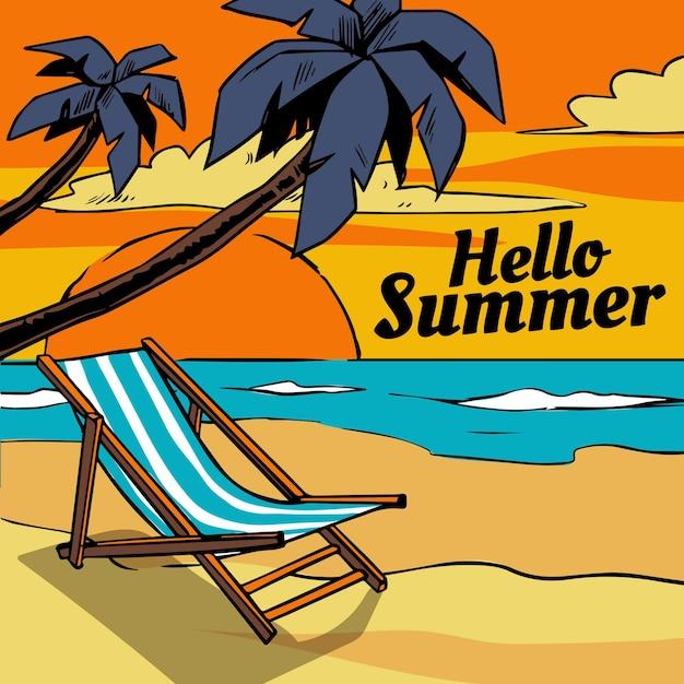 Ręcznie Rysowane Witaj Lato Z Plażą I Palmami Darmowych Wektorów