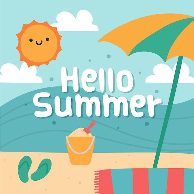 Ręcznie Rysowane Witaj Lato Z Plażą Darmowych Wektorów