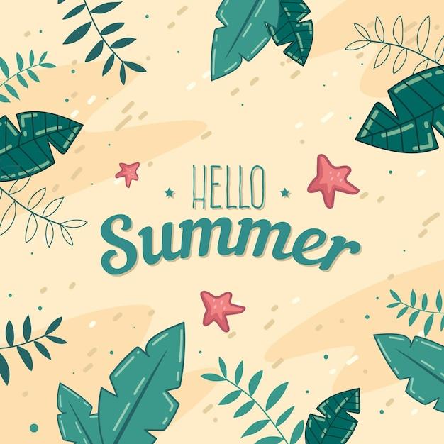 Ręcznie Rysowane Witaj W Letnim Stylu Darmowych Wektorów