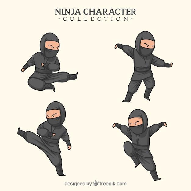 Ręcznie rysowane wojownik ninja w różnych pozach Darmowych Wektorów