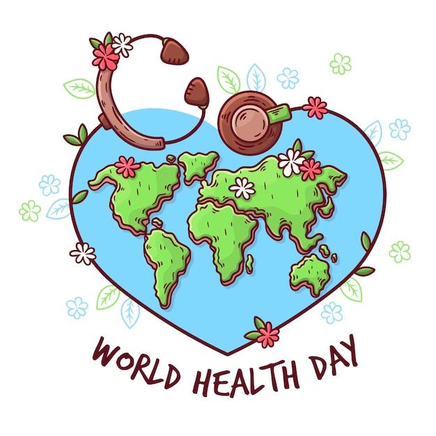 Ręcznie Rysowane Workd Dzień Zdrowia Darmowych Wektorów